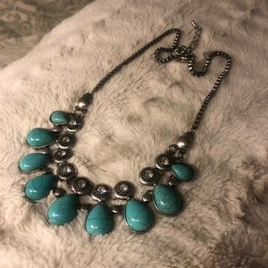 Turquoise and Crystal Silver Necklace